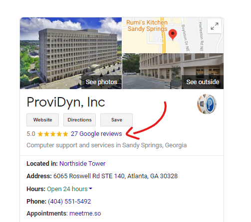 MSP Google Reviews Example