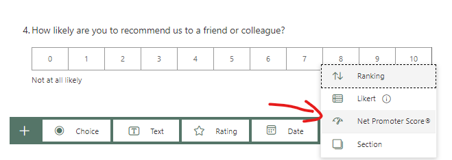 NPS in Microsoft Forms