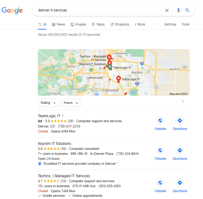 Google Map Pack for IT Businesses